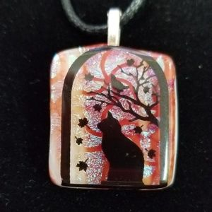 Handmade glass cat necklace